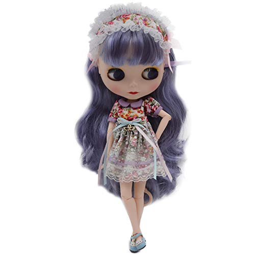1/6 BJD Doll is Similar to Neo Blythe, 4-Color Changing Eyes Matte Face and Ball Jointed Body Dolls, 12 Inch Customized Dolls Can Changed Makeup and Dress DIY (Purple)