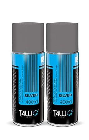 T4 W - Spray de color Pintura para tapas y ruedas Spray - Plata - 400 ml (59103): Amazon.es: Coche y moto