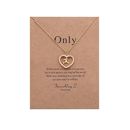 ForeveRing Z Handmade Necklace Message Card Only Letter Y Necklace Initial Necklace Heart Love Necklace CZ Cubic Zirconia Pendant Love Necklace Woman Jewelry