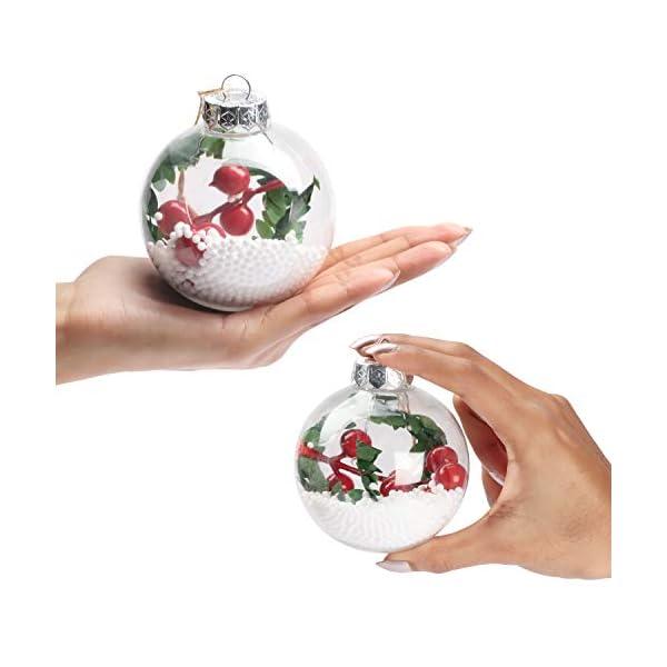 Palle di Natale Plastica (Set da 10) - Palline di Natale Trasparenti in Plastica Rotonde Vintage per Decorazioni Natalizie, Addobbi per Feste di Compleanno, Addobbi Natalizi per Albero con Corda Iuta 3 spesavip