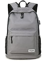 Mupack Oxford Water Resistant Bookbag Backpack College Travel Student Slim Rucksack with USB Charging Port Fits...