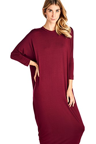 S USA Cover in Made Solid 12 Sleeve Ami Up Burgundy Long Dress 2X Maxi F84x7