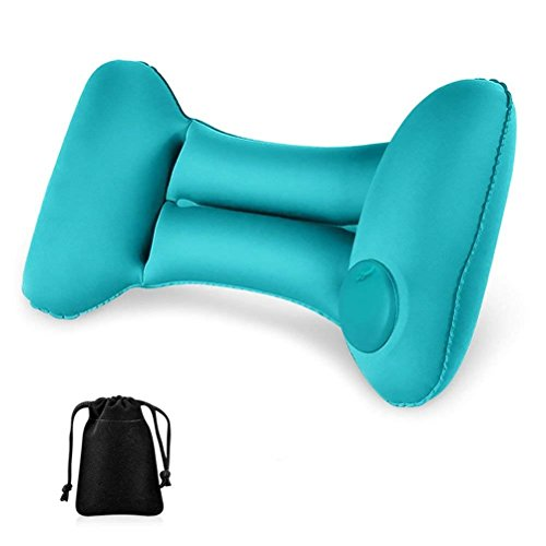Inflatable Lumbar Support Travel/Camping Cushion - Ergonomic Orthopedic Design for Lower Back Pain Relief, Portable Folding Back Pillow for for Computer/Office Chair, Car Seat, Recliner etc(Blue)