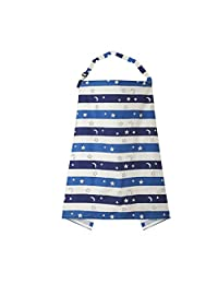 DierCosy Multifunctional Nursing Cover Privacy Breastfeeding Towel Anti-Exposure Gown Clothing Breathable Cotton Breast Feeding Apron with Matching Cloth Bag(Starry Sky Stripes) BabyProducts