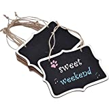 Bestgle 30Pcs Mini Chalkboard Decorative Signs with Hanging String, 3.3 × 2.3 inch Natural Wooden Double-Sided Rectangle Blackboard Memo Tags Message Labels for Wedding Birthday Party Decor