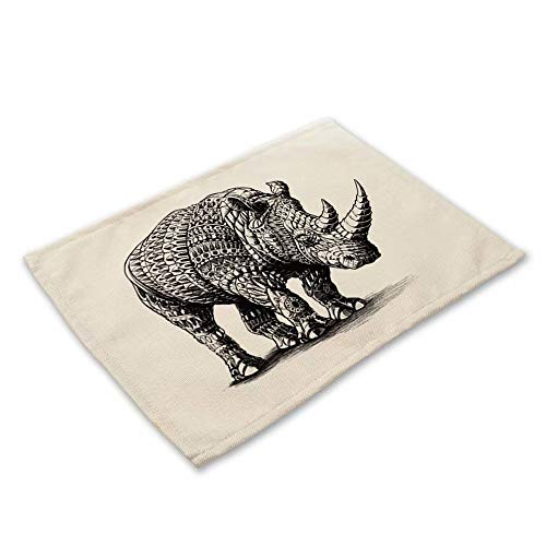 Placemats Heat-Resistant Dining Table Place Mats Washable Kitchen Table Mats,Set Of 1- Rhinoceros Animal Black ()