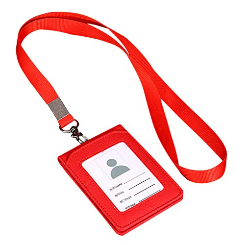 - Shan_s Card Set Lanyard,PU Leather ID Holder Neck Lanyard Multi-Card/Work Permit/Employee Badge/Card Package (red)