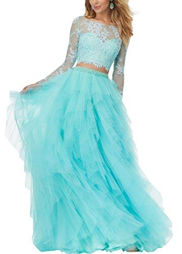 Parteikleid Langarm Spitze 2 Abschlussballkleid Frauen Aqua Abendkleider Changjie Ballkleider Prinzessin Kleider Formelle Piece Damen xTwqHHFv
