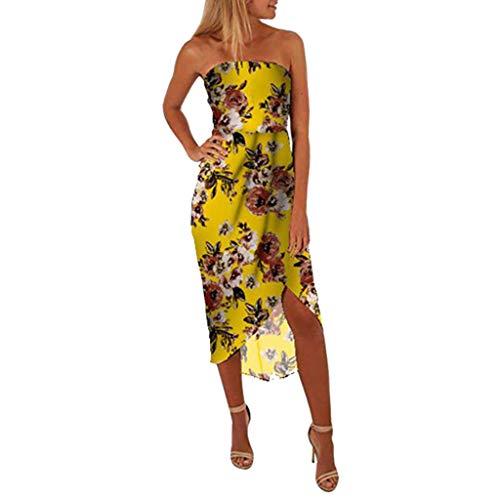 Hem Bandeau (Strapless Irregular Dresses for Women, Split Hem Tropical Floral Bodycon Bandeau Mini Dress Summer Casual Party Dress Yellow)