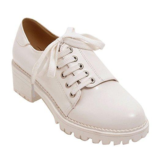 Latasa Womens Chic Lace-up Tacchi Alti Oxford Scarpe Bianche