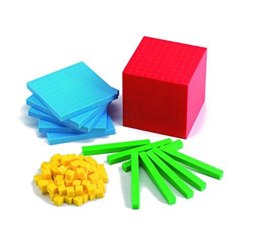 Learning Advantage 7472 Four Color Plastic Base Ten Set, Grade: 1 (Place Cubes Value)