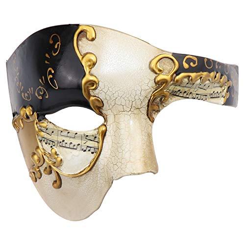 Half Face Men's Phantom of The Opera Vintage Design Venetian Carnival Masquerade Mask (Beige & Black)