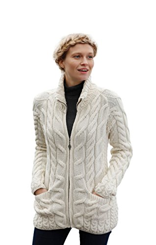 Aran Woollen Mills Irish Shaped Zipper Wool Cardigan With Mock Turtleneck (XX-Large)