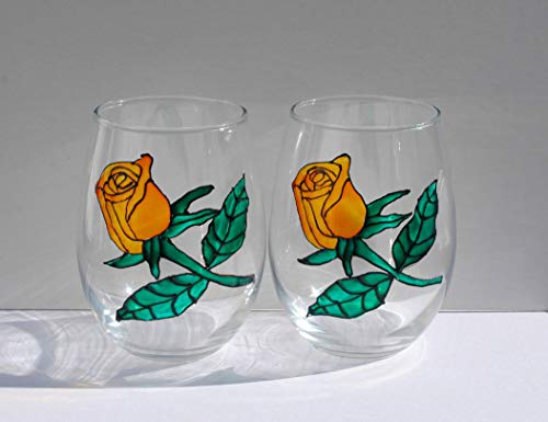 2 Yellow Rose Bud Stemless Hand Painted Wine Glasses Set