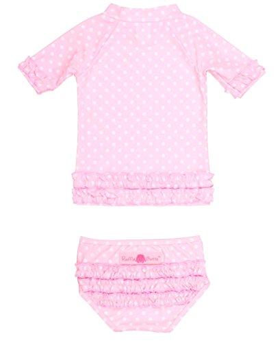 RuffleButts® Little Girls Ruffled Rash Guard Bikini - Pink