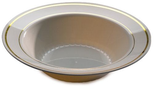 (Fineline Settings Silver Splendor Bone With Gold Round China-Like 12 oz. Bowl  150)