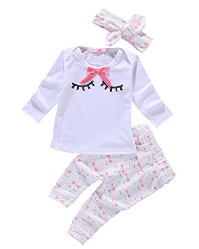 Toddler Girls Eyelash Printing Button T-shirt + Bow-knot Pants 3 Piece Outfits - Lash Girl