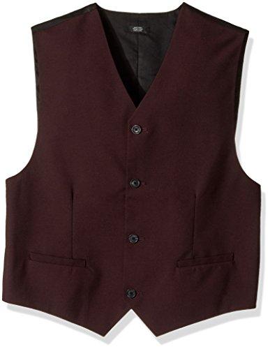 (Calvin Klein Big Boys' Big Patterned Suit Vest, Square Burgundy, Medium(10/12))