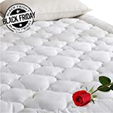 Pillow Top Mattress Cover DOWNCOOL 300T 100% Cotton Quilted Fitted Mattress Pad - Cooling Down Alternative Pillow Top Mattress Cover Fit 8-21 Inch Deep Pocket Mattress Topper Cover - Queen