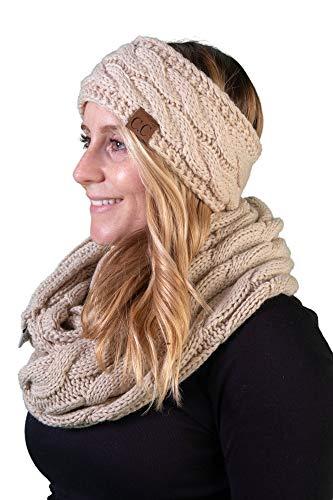 dHWS-6100-60 Headwrap and Scarf Bundle Warm Knit Women's Winter Set - Beige