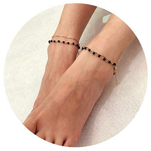ach Anklets Bracelets Jewelry Layered Round Beads Sequins Turquoises Foot Chain Women Girls (Black Beads) ()