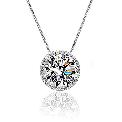 Cat Eye Jewels Women 925 Sterling Silver Round Cut Clear CZ Cubic (Cubic Zircon Cross Pendant)