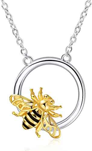 39a0e4b7a YFN S925 Sterling Silver Bee Necklace, Lovely Tiny Honeycomb Pendant  Necklace for Women and Girls
