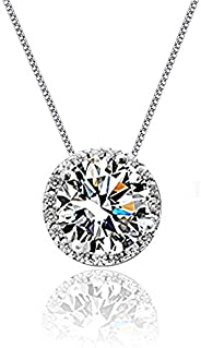 CAT EYE JEWELS 925 Sterling Silver Cubic Zirconia Necklace Crystal Diamond Good Luck Halo Flower Clover Celtic