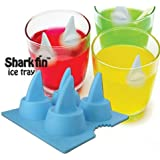 Funny Shark Fin Ice Cube Tray 4-tray Eco-friendly Silicone Ice Mould Blue/gray (1 Pieces)