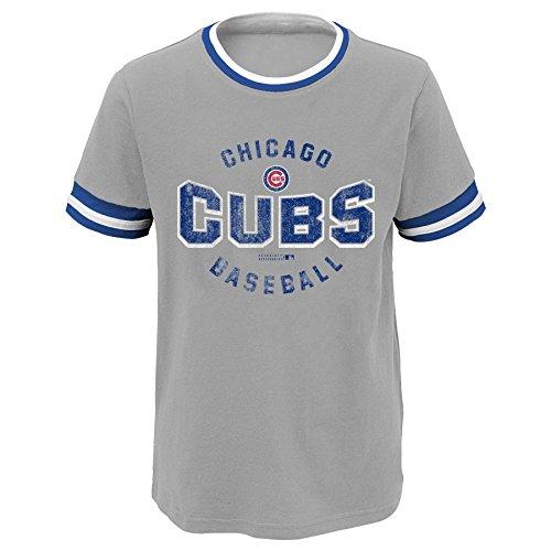 MLB Chicago Cubs Youth Boys 8-20 Ringer Short Sleeve Tee, Large (14-16), Heather Grey
