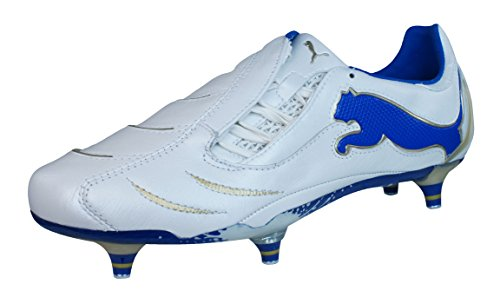 (PUMA Powercat 1.10 SG Mens Leather Soccer Boots/Cleats-White-9)