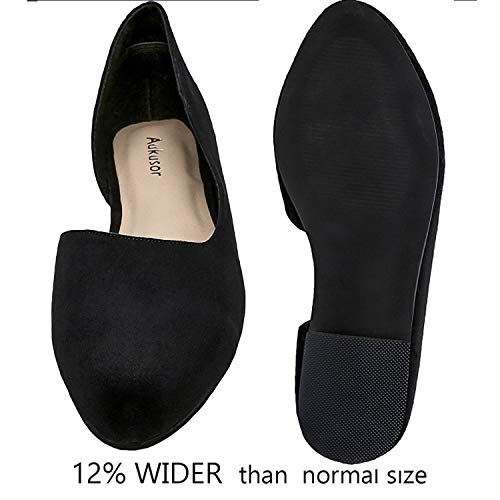 5d13f9653857c Aukusor Women's Wide Width Ballet Flat - Comfortable Sandals Slip On  Pointed Toe Summer Shoes.(180401 Black, 8.5)