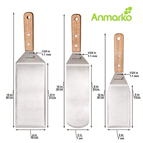 Professional Spatula Set - Stainless Steel Pancake Turner and Griddle Scraper 4x8 inch Oversized Hamburger Turner Great for Griddle BBQ Grill and Flat Top Cooking - Commercial Quality