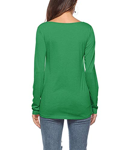 Blouse Shirts Sleeve Zipper Chemisier Pullover Femme LemonGirl Green Pocket with Long wp4xqWftP