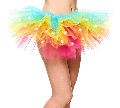 Rainbow Tutu for Women Led Light Up Neon Party Dance Tutu Skirt, Rainbow -
