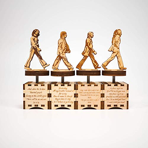 The Beatles music box - Abbey Road set - Personalized gift - Hand cranked mechanism