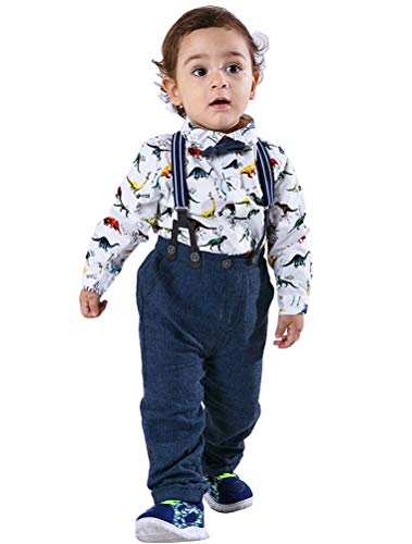 Abolai Baby Boy Long Sleeve Cute Diansour Pattern Romper Suspenders Pant Sets Outfit Set White 70 -