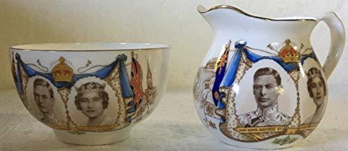 Vintage Ansley Sugar Bowl and Creamer to Commemorate Royals Visit - (Vintage Aynsley Bone China)