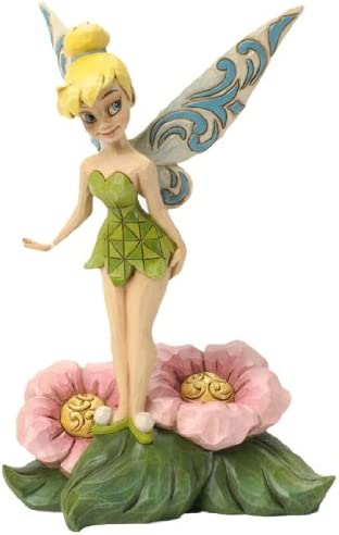 Jim Shore for Enesco Disney Traditions Tinker Bell Standing on Flower Figurine, 7.25-Inch