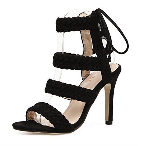 Summer Damen Schwarz New Sandaletten Stiletto Offene Geflochtene Heels LINYI IwfxSax