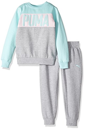 PUMA Toddler Girls' Two Piece Sweatsuit Set, Light Heather Grey, 4T