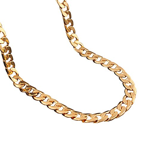 Adecco LLC 18K Gold Plated Men Chain Necklace Figaro Punk Style Jewelry,10mm (5)