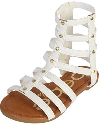 (bebe Girls Strappy Gladiator Sandal, White, 3 M US Little)