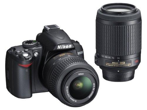 ニコン D3000 ブラック ダブルズームキット AFS DXニッコール1855mm f3.55.6G VRAFS DX VRズームニッコール55200mm f45.6G IFEDの商品画像