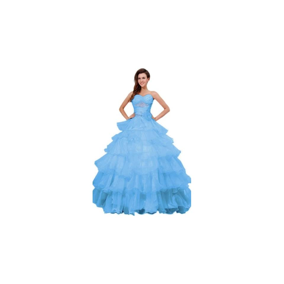 Sunvary Ball Gown Floor Length Dance Quinceanera Prom Dress Organza Size 2  Blue