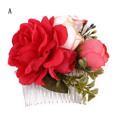 Women Rose Flower Hairpin s Hair Pins Clips Combs smaid Blooming Flower Gold leaves Headband Jewelry Accessories Girls,A