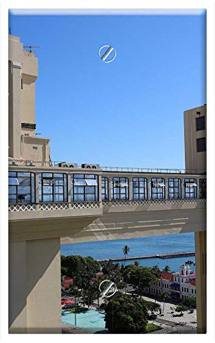 Single-Gang Blank Wall Plate Cover - Salvador Bahia Brazil Lift Lacerda Sky Blue 1 ()