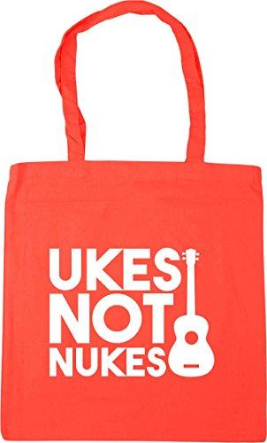 HippoWarehouse Ukes Not Nukes Tote Shopping Gym Beach Bag 42cm x38cm, 10 litres Coral