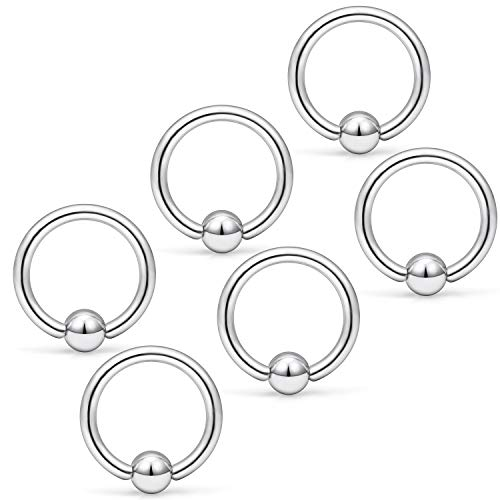 (Yaalozei 6PCS 14G 8mm Stainless Steel Captive Bead Nose Hoop Rings Eyebrow Cartilage Nipple Tongue Belly Earring Septum Ring Piercing Jewelry for Men Women Silver)