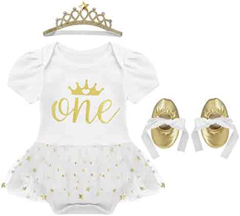 bd163dd71ede dPois Infant Baby Girls' 1st Birthday Photography 3PCS Outfits Short Sleeves  Romper Tutu Dress with